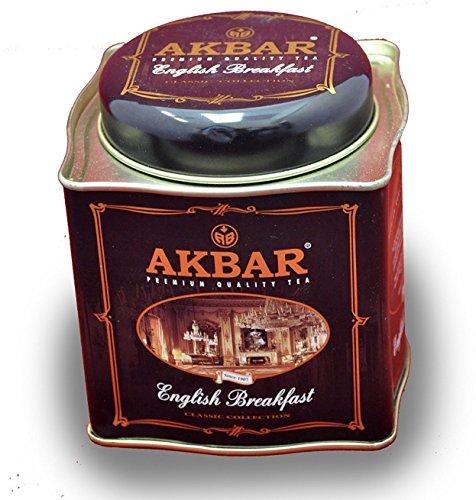 English Tea Caddy - Akbar | English Breakfast Tea | Ceylon Black Tea | Premium Loose Leaf | Non GMO | Rich & Robust | 250g / 8.75 oz. tin Caddy | 125 servings
