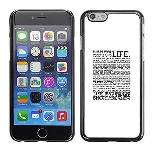 X-ray Impreso colorido protector duro espalda Funda piel de Shell para Apple iPhone 6 Plus(5.5 inches)- Text Quote Motivational Minimalist