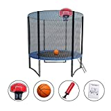 Cheap Exacme High Weight Limit Trampoline with Safety Pad & Enclosure Net and Ladder Combo withBasketball Hoop and Ball Included; T-Series, Orange (8 foot)