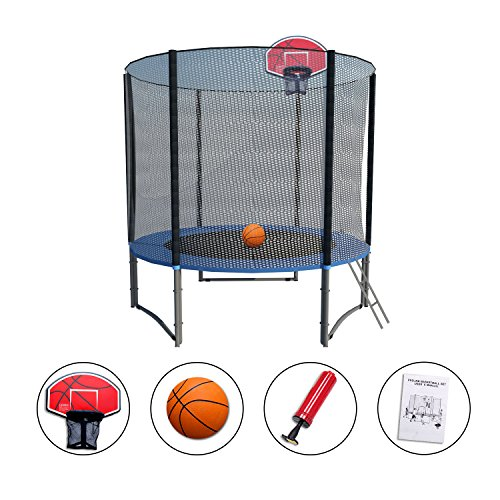 Exacme High Weight Limit Trampoline with Safety Pad & Enclosure Net and Ladder Combo withBasketball Hoop and Ball Included; T-Series, Orange (8 foot)