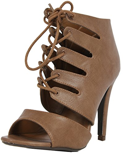 Womens Delicious Sole Rib Scanda Lace Heels Up Single Caged qqw1r0Hnd