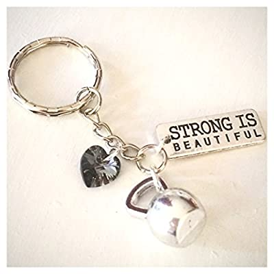 Strong Is Beautiful Keychain Silver Kettle Bell Charm Swarovski Crystal Message of Strength Fitness Bodybuilding Gift
