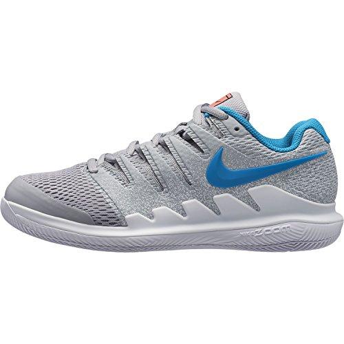NIKE Women's Air Zoom Vapor X HC Tennis Shoes Wolf Grey/Hot Lava-white-blue Nebula