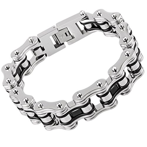 LEADCIN Mens Bracelet Stainless Steel Bike Chain Wide Motorcycle Heavy Bangle Man Jewelry (black-silver) (For Women Motorcycle Jewelry)