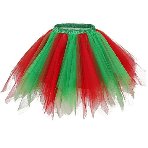 Girstunm Women's 1950s Vintage Petticoats Bubble Tutu Dance Half Slip Skirt Red Green L/XL -