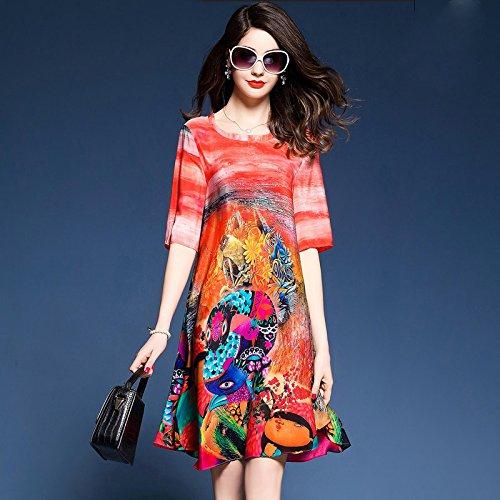 Gran GAOLIM Collar Femenino Dos del Usar De Tamaño del Vestido Verano del Floja La Cubierta 3XL De Punto De Vestido para Cuello Vestido Color V qrwCTnSxIr