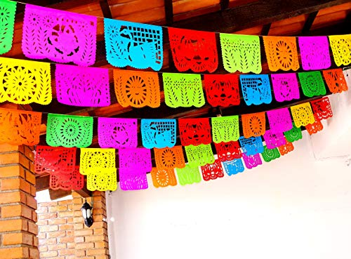 5 Pk Mexican Fiesta Decorations, Papel Picado Banner 60 ft total, Papel Picado tissue PAPER garland, Mexican theme party supplies for Weddings, Birthdays, Taco Mexican Paper Flags Paper Picado WS100]()