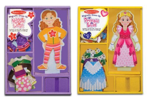 Melissa & Doug Princess Elsie and Maggie Leigh Magnetic Dress up Bundle