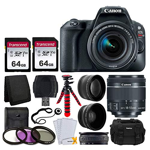 Canon EOS Rebel SL2 Digital SLR Camera + EF-S 18-55mm f/4-5.6 IS STM Lens + 58mm Wide Angle & Telephoto Lens + 2x 64GB Memory Card + DC59 Gadget Bag + 12″ Flexible Tripod + UV Filter Kit + Accessories