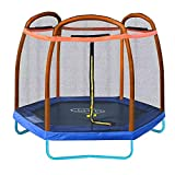 Clevr 7 ft Small Kids Trampoline and Safety Enclosure Net & Spring Pad, Orange and Blue, Outdoor Round Bounce Jumper 84