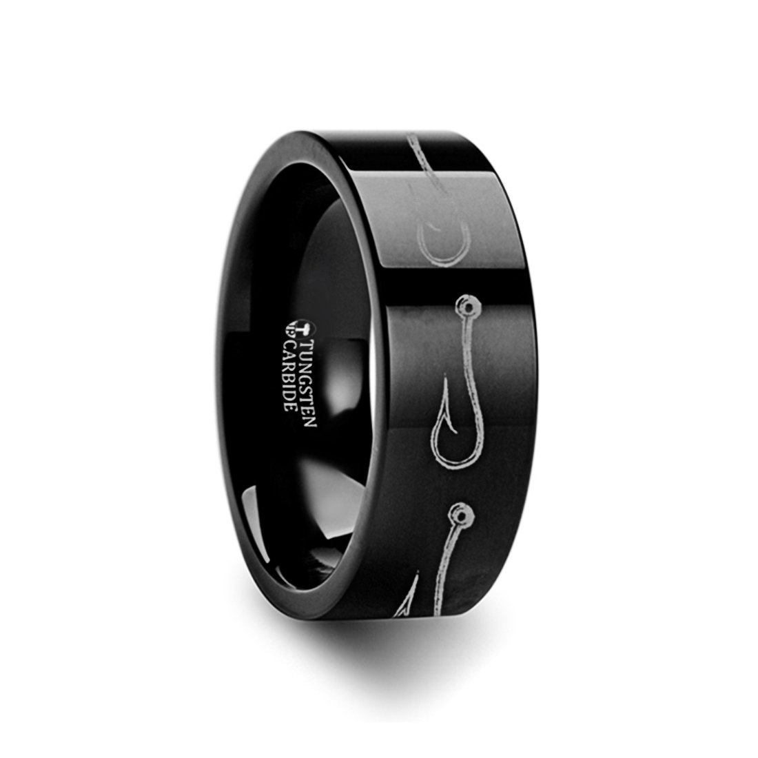 Thorsten Simple Artistic Fishing Hook Fish Sea Print Pattern Ring Flat Black Tungsten Ring 4mm Wide Wedding Band from Roy Rose Jewelry