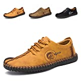 Men's Suede Breathable Leather Lace up Oxfords Shoes Hand Made Driving Shoes British Style Retro Casual Shoes Men
