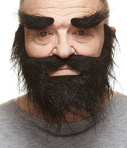 Mustaches Self Adhesive, Novelty, Realistic, Traper Fake Beard Fake Mustache and Fake Eyebrows, Black Color ()