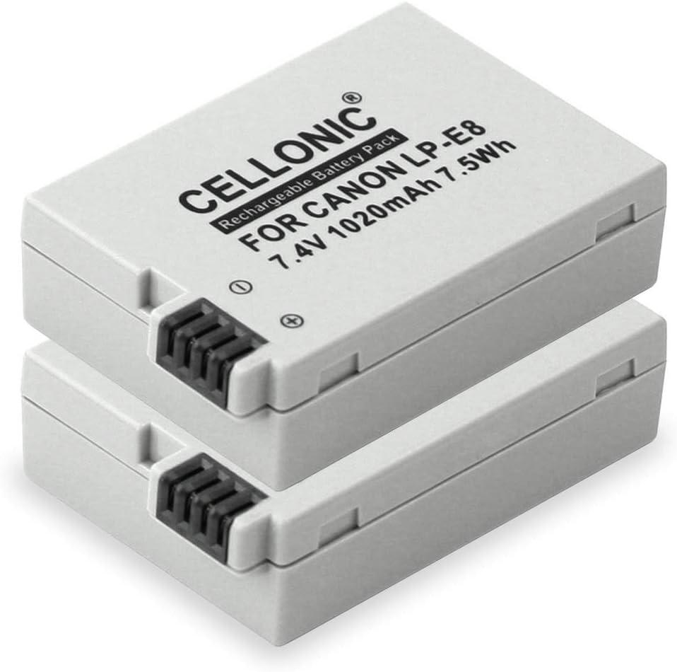 CELLONIC 2X Batería Premium Compatible con Canon EOS 600D EOS 700D T3i EOS 650D EOS 550D Rebel T5i T2i T4i (1020mAh) LP-E8 bateria de Repuesto, Pila reemplazo, sustitución: Amazon.es: Electrónica