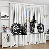 GUUVOR Manly Shading Insulated Curtain Custom Motorcycle Horsepower Adventurous Journey Freedom Ride Masculine Vehicle Soundproof Shade W108 x L96 Inch Grey Black White