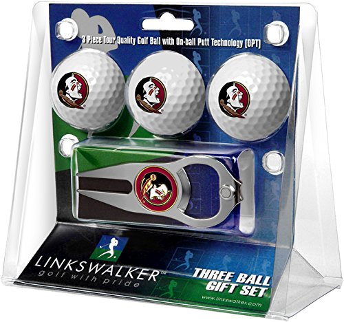 LinksWalker NCAA Florida State Seminoles - 3 Ball Gift Pack with Hat Trick Divot Tool by LinksWalker