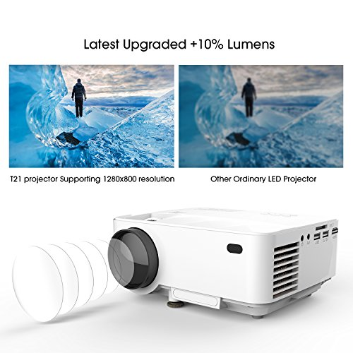 DBPOWER T21 Upgraded LED Projector,1800 Lumens Multimedia Home Theater Video Projector Supporting 1080P, HDMI, USB, SD Card, VGA, AV for Home Cinema, TV, Laptops, Games, Smartphones & iPad by DBPOWER (Image #2)