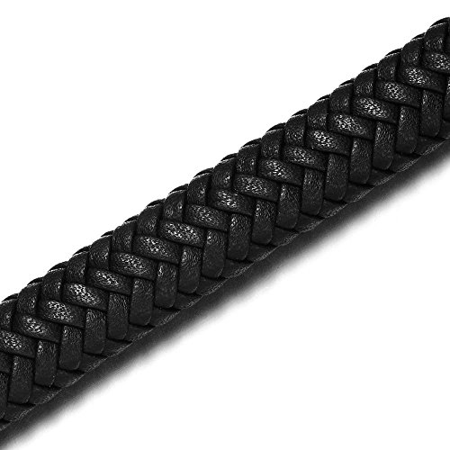 REAMOR 12x6mm Black Wide Super Fiber PU Braided Leather Cord For Jewelry Making Findings Craft Accessories