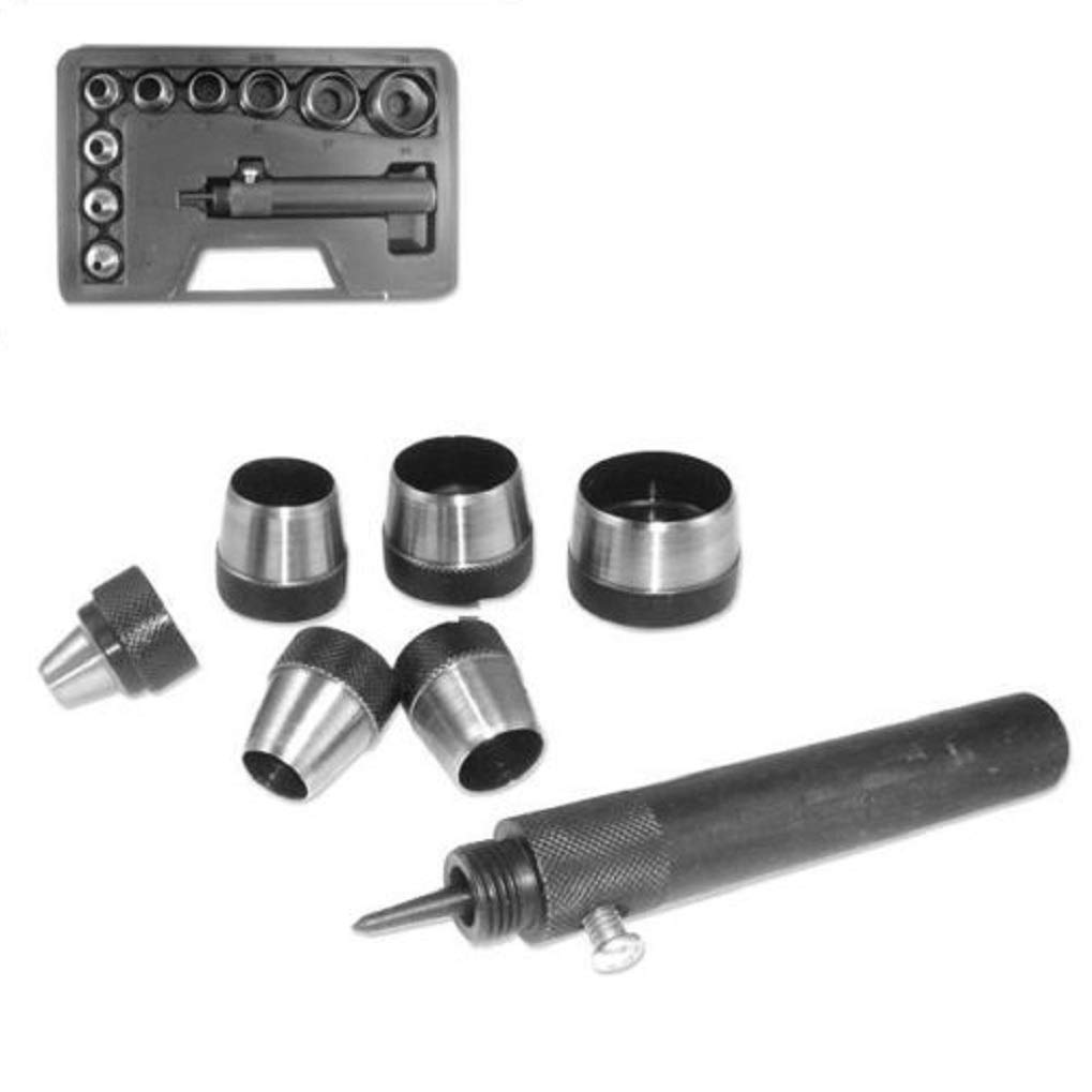 NEW 10 Pc Heavy Duty Hollow Punch Kit with Case Tool Set Gasket Leather Rubber Holes HD