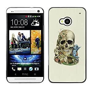 Caucho caso de Shell duro de la cubierta de accesorios de protección BY RAYDREAMMM - HTC One M7 - Ángel Calavera