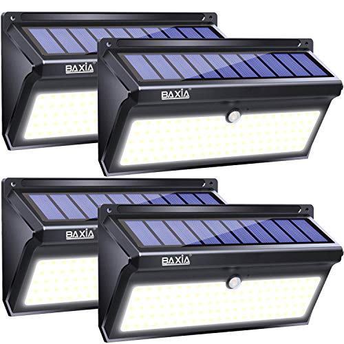 (BAXIA TECHNOLOGY Solar Lights Outdoor, Wireless 100 LED Solar Motion Sensor Lights Waterproof Security Wall Lighting Outside for Front Door, Backyard, Steps, Garage, Garden (2000LM, 4PACK))
