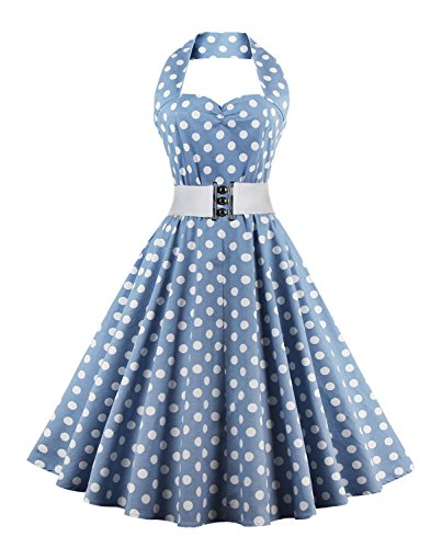 Kimring Women's Vintage Rockabilly Polka Dots Print Halter Cocktail Swing Dresses with Belt Blue/White Small