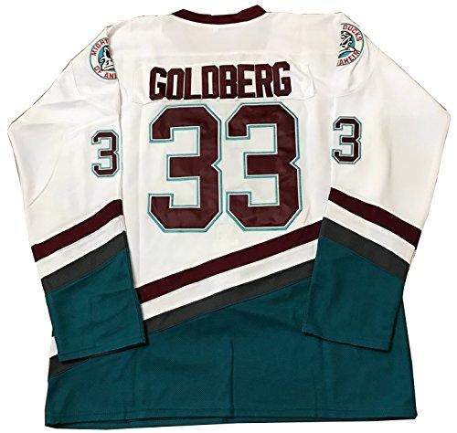 (Kooy Greg Goldberg #33 Mighty Ducks Movie Hockey Jersey White (Large))