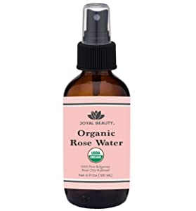 Rose Water USDA Organic Toner Spray for Face Hair Skin by Joyal Beauty. 100% Pure Bulgarian Rose Damascena Steam Distilled. Premium Therapeutic Grade 4oz Glass Bottle.