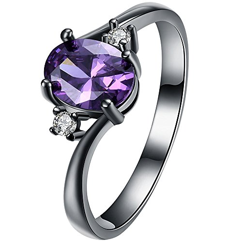Amethyst Single Stone Ring - XAHH Women Black Gold Purple Amethyst Oval CZ 3 Stone Best Promise Ring Anniversary Wedding Band for Her Size 7