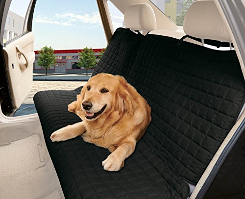 Elegance Linen® Quilted %100 Waterproof Premium Quality Bench Car Seat Protector Cover (Entire Rear Seat) for Pets - TIES TO STOP SLIPPING OFF THE BENCH , Black