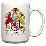 Lane Coat of Arms / Lane Family Crest 15 Oz Ceramic Coffee / Cocoa Mug by Carpe Diem Designs, Made in the U.S.A.