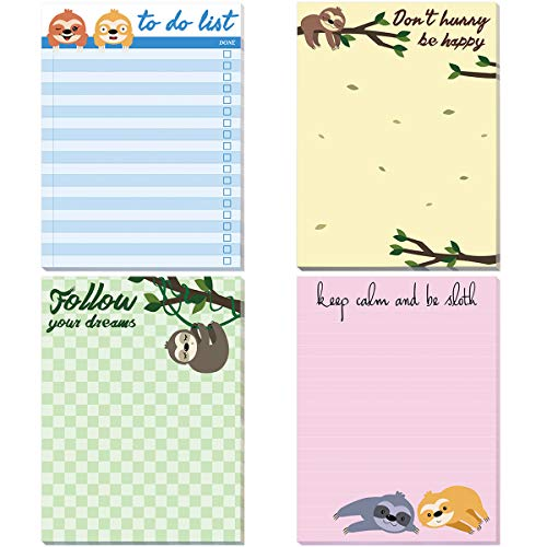 (Sloth Memo Pads 4 Pack Funny Notepads for Office Gifts School Supply)