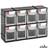 8 Drawer Plastic Bin Parts Storage Organizer Cabinet House Storage Boxes (Black)