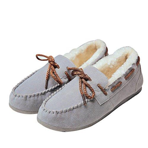 Wild Flat A Pedal Warm Cotton Shoes,Grey-7.0(UK)