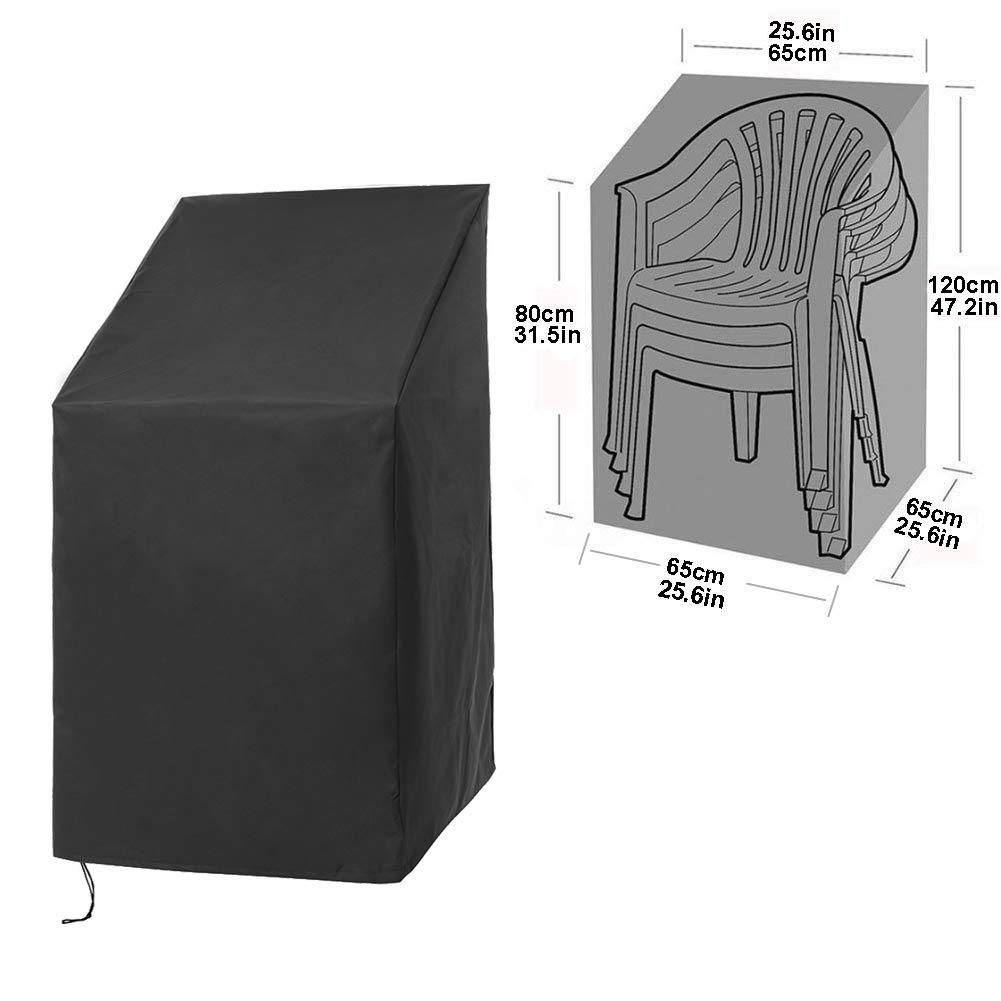 QEES Patio Chair Covers, Heavy Duty High Back Outdoor Chair Cover, Waterproof Lounge Deep Seat Cover, Stackable Chairs Cover YZZ07