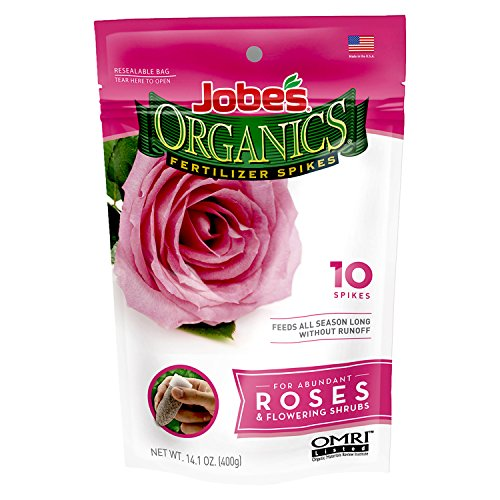 Jobe's Organics Rose & Flower Fertilizer Spikes, 10 Spikes (Best Manure For Roses)