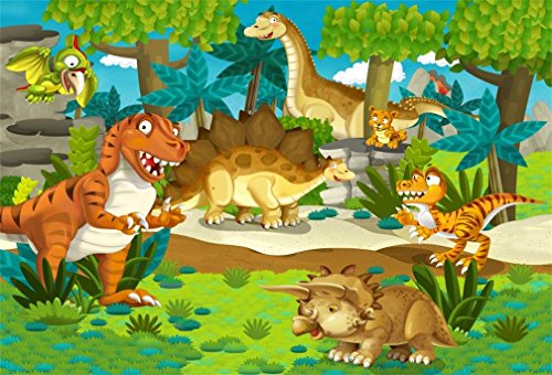 AOFOTO 7x5ft Cartoon Dinosaurs In Forest Background Fantasy Jungle Safari Animals Photography Backdrop Party Decoration Photo Studio Props Children Boy Kid Toddler Artistic Portrait Vinyl Wallpaper