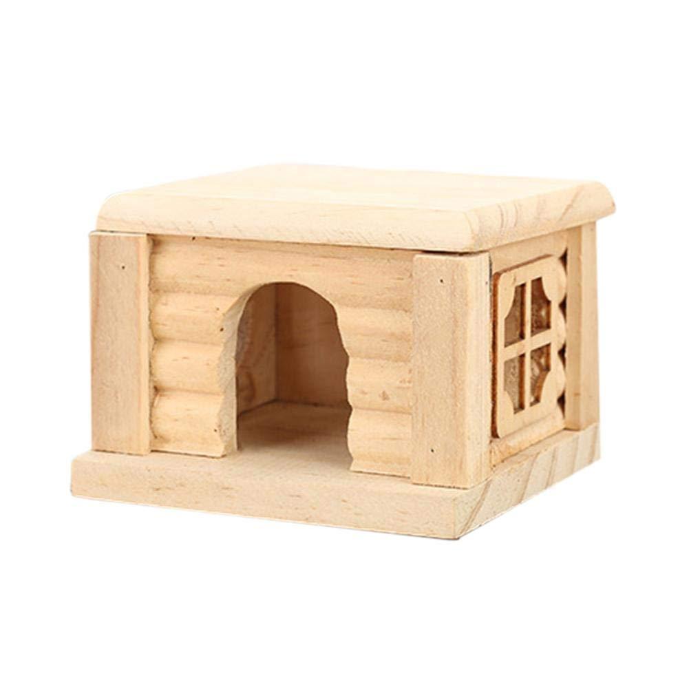 Wetour Casa de Animales pequeños para Mascotas Casa de Madera Hámster Nido Casa escondite, Hut Play Toys Masticables con Chips de Madera Natural