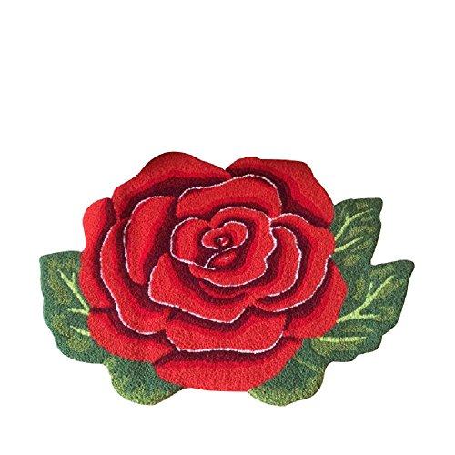 (YOUSA Red Rose Shaped Rug Anti-slip Mat Handmde Rug 31.5''23.6'')