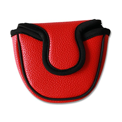 Big Teeth Classic Golf Mallet Putter Cover Headcover Club Protector Magnetic Closure Don't FIT Iron Material Putter (Red)