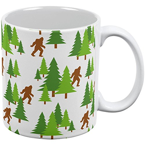 Sasquatch Bigfoot Woods Pattern All Over Coffee Mug White Standard One Size ()