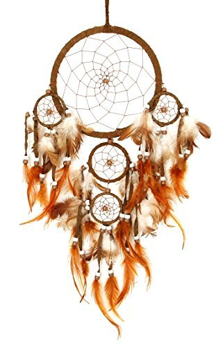 Large Hanging Windchime Dreamcatcher Brown Feathers and Beads - Brownish Orange