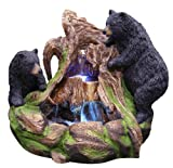 Cheap Alpine GXT252 2 Bears Climbing On Rainforest Led Lights Floor Fountain, Multicolor