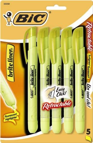 BIC Retractable Highlighter Chisel 5 Count
