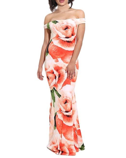 Mujer Vestidos De Noche Largos Moda Hermoso Floreadas Vestidos Fiesta Niñas Ropa Elegantes Manga Corta Sin Tirantes Slim Fit Paquete De Cadera Vestido ...