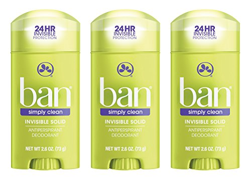 Ban Antiperspirant Deodorant, Invisible Solid, Simply Clean, 2.6 Ounce (Pack of 3)
