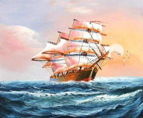 Oil Painting 'a Sailing Ship On The Blue Ocean', 24 x 29 inch / 61 x 74 cm , on High Definition HD canvas prints is for Gifts And Home Theater, Laundry Room And Study Room Decoration, diy