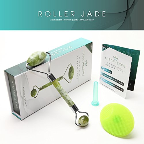 LifeTurquoise 3 in 1 Facial Jade Roller | Face Roller Massager, Silicone Cleansing Brush, and Face Suction Cup for Cupping Therapy – Authentic Himalyan Jade Stone – Reduces Puffiness and Fine Wrin