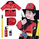 ACSUSS Boys Girls Halloween Cosplay Outfits Policeman/Fireman/Doctor Costumes with Accessories Red One_Size