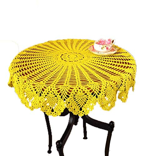 Laivigo New Handmade Crochet Lace Round Table Cloth Doilies Doily,35 Inch,Yellow (Cloth Round Lace Coffee Table)
